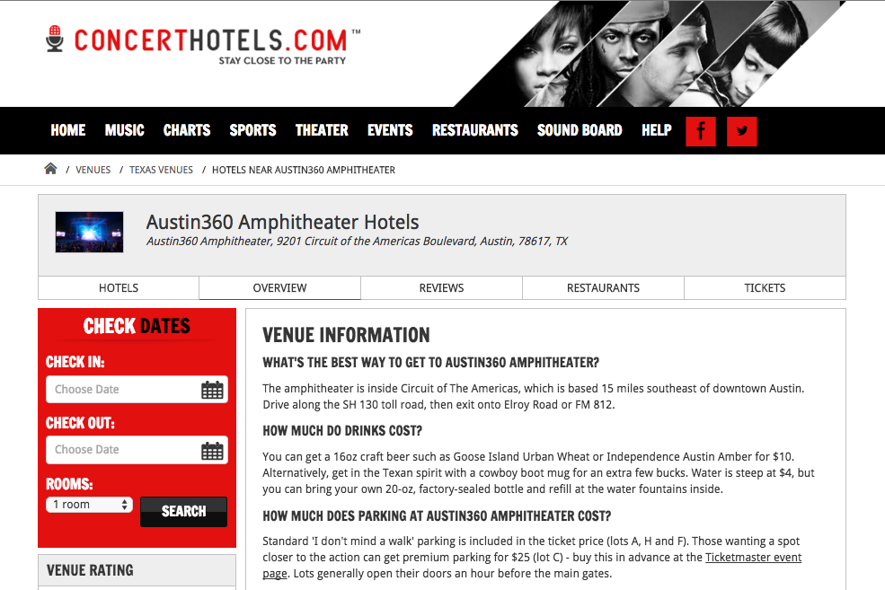 A website that helps people find hotels close to music venues