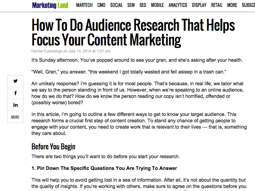 Blog post on audience research for Marketing Land.